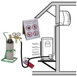 Проверка под давлением с осушенным азотом без примесей кислорода