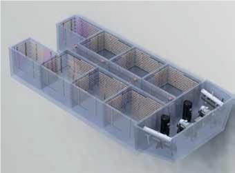 Машинное отделение размещается на носу, а 8 резервуаров — на корме. Каждый резервуар изолирован полиуретановой пеной